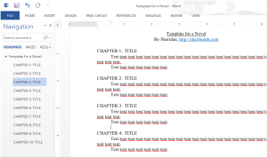 Novel template using headings in Word